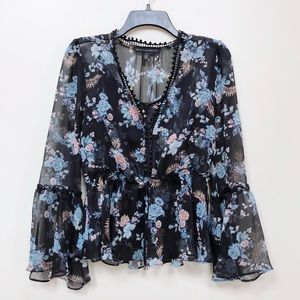 White House Navy Floral Bell Sleeve Blouse XS